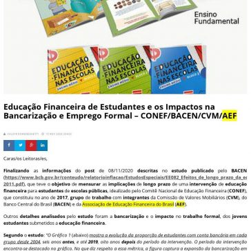 Educação Financeira de Estudantes e os Impactos na Bancarização e Emprego Formal – CONEF/BACEN/CVM/AEF – Revide