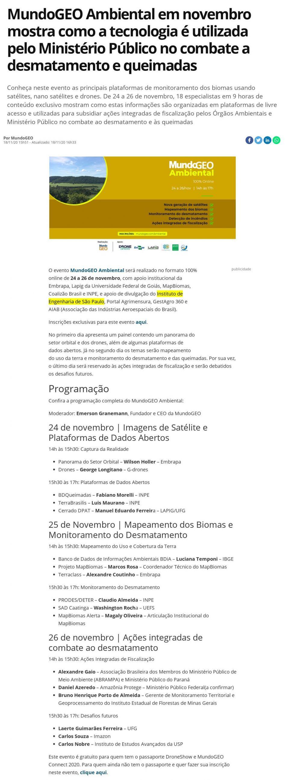 MundoGEO Ambiental em novembro mostra como a tecnologia é utilizada pelo Ministério Público no combate a desmatamento e queimadas - MundoGeo