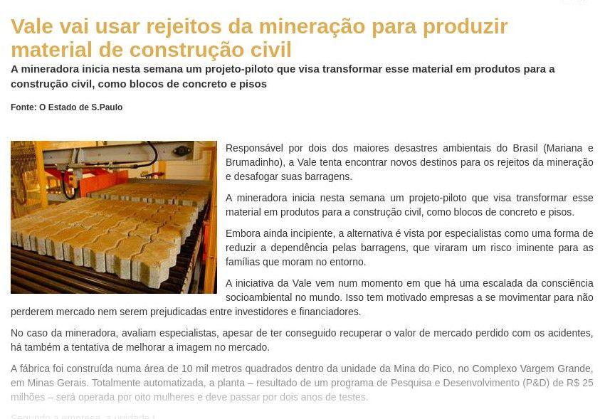 Vale vai usar rejeitos da mineração para produzir material de construção civil - Grandes Construções