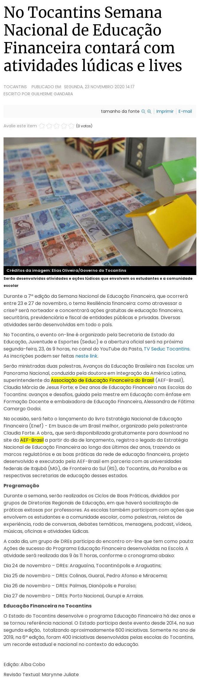 No Tocantins Semana Nacional de Educação Financeira contará com atividades lúdicas e lives - Agora-Tô