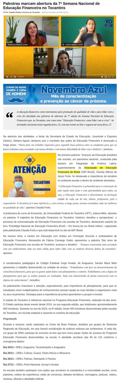 Palestras marcam abertura da 7ª Semana Nacional de Educação Financeira no Tocantins - Portal do Amaral
