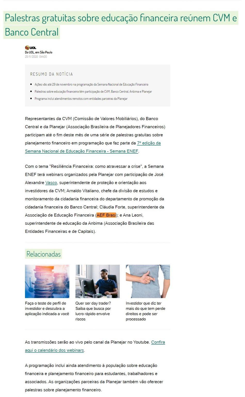 Palestras gratuitas sobre educação financeira reúnem CVM e Banco Central - BOL Notícias