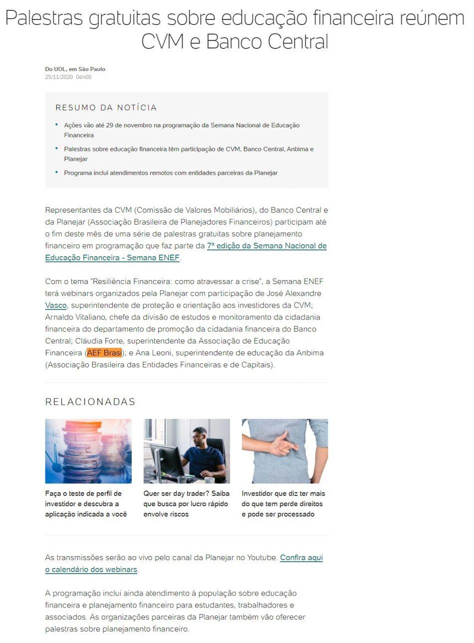 Palestras gratuitas sobre educação financeira reúnem CVM e Banco Central - UOL