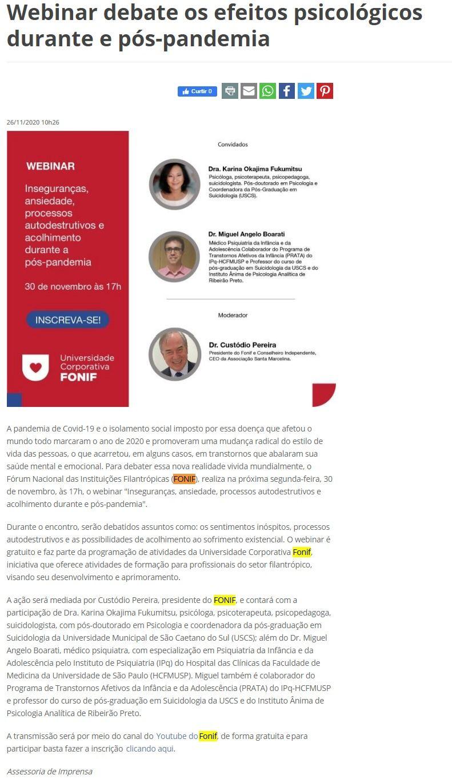 Webinar debate os efeitos psicológicos durante e pós-pandemia - A Tribuna News