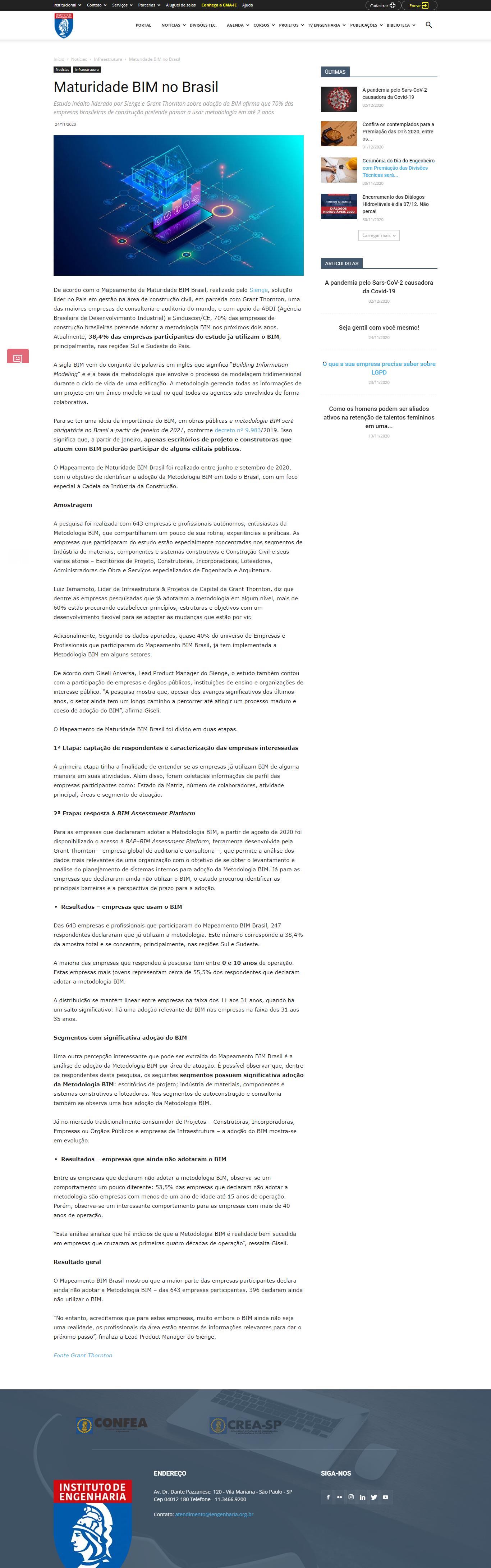 Maturidade BIM no Brasil - Instituto de Engenharia