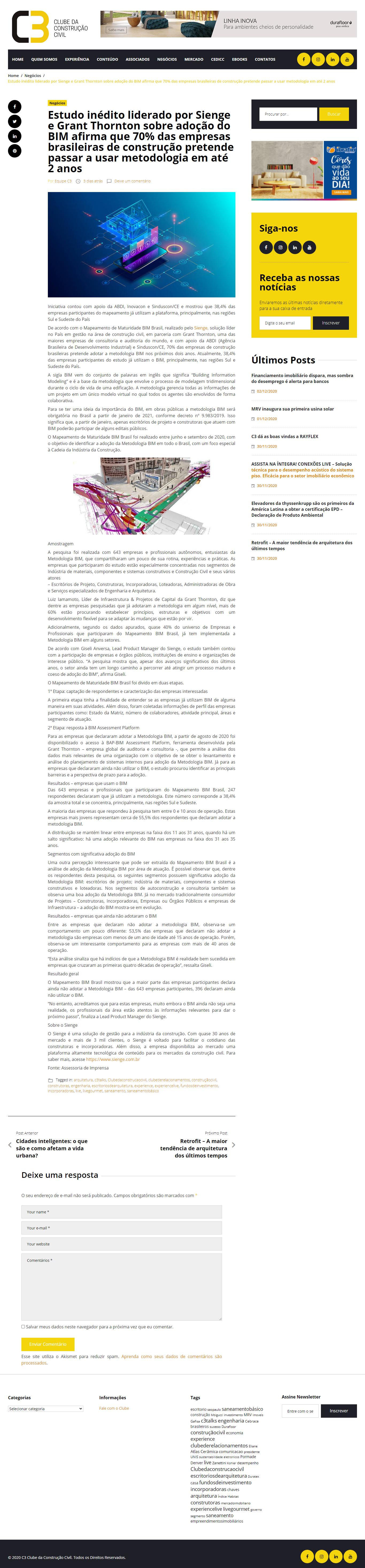 Estudo inédito liderado por Sienge e Grant Thornton sobre adoção do BIM afirma que 70% das empresas brasileiras de construção pretende passar a usar metodologia em até 2 anos - C3 Clube