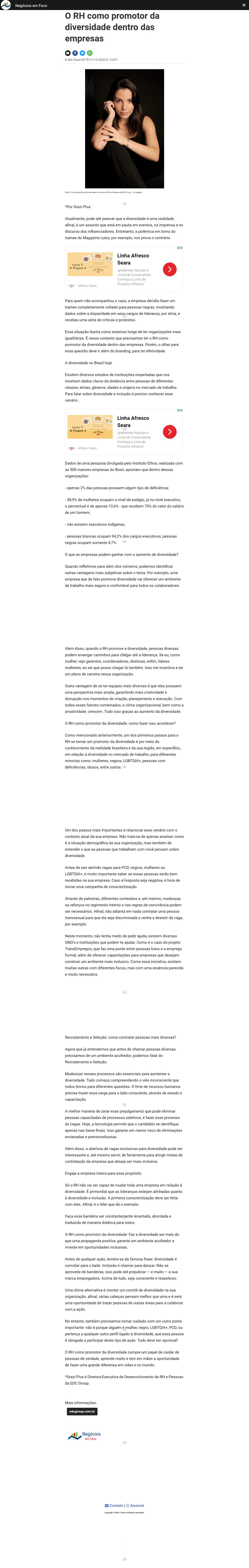 O RH como promotor da diversidade dentro das empresas - Negócios em Foco