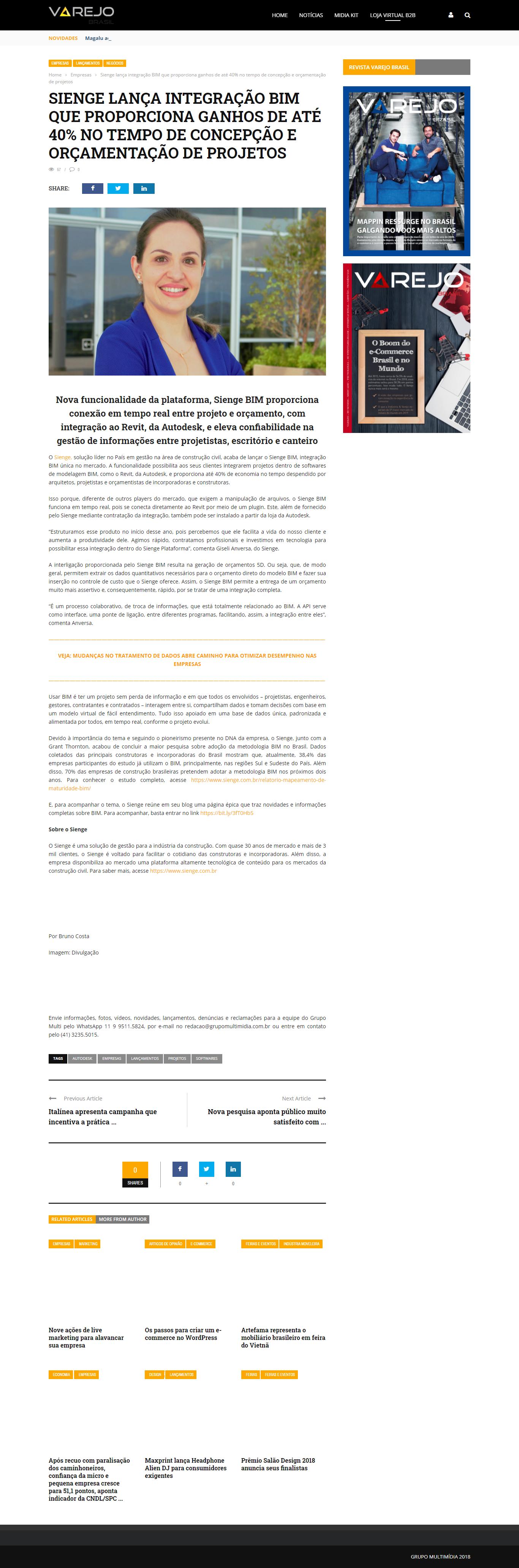 Sienge lança integração BIM que porporciona ganhos de até 40% no tempo de concepção e orçamentação de projetos - Revista Varejo Brasil