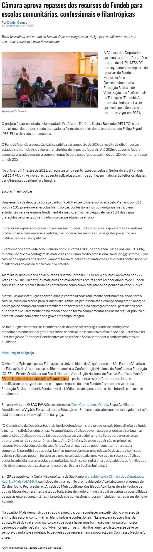 Câmara aprova repasses dos recursos do Fundeb para escolas comunitárias, confessionais e filantrópicas - Jornal O São Paulo