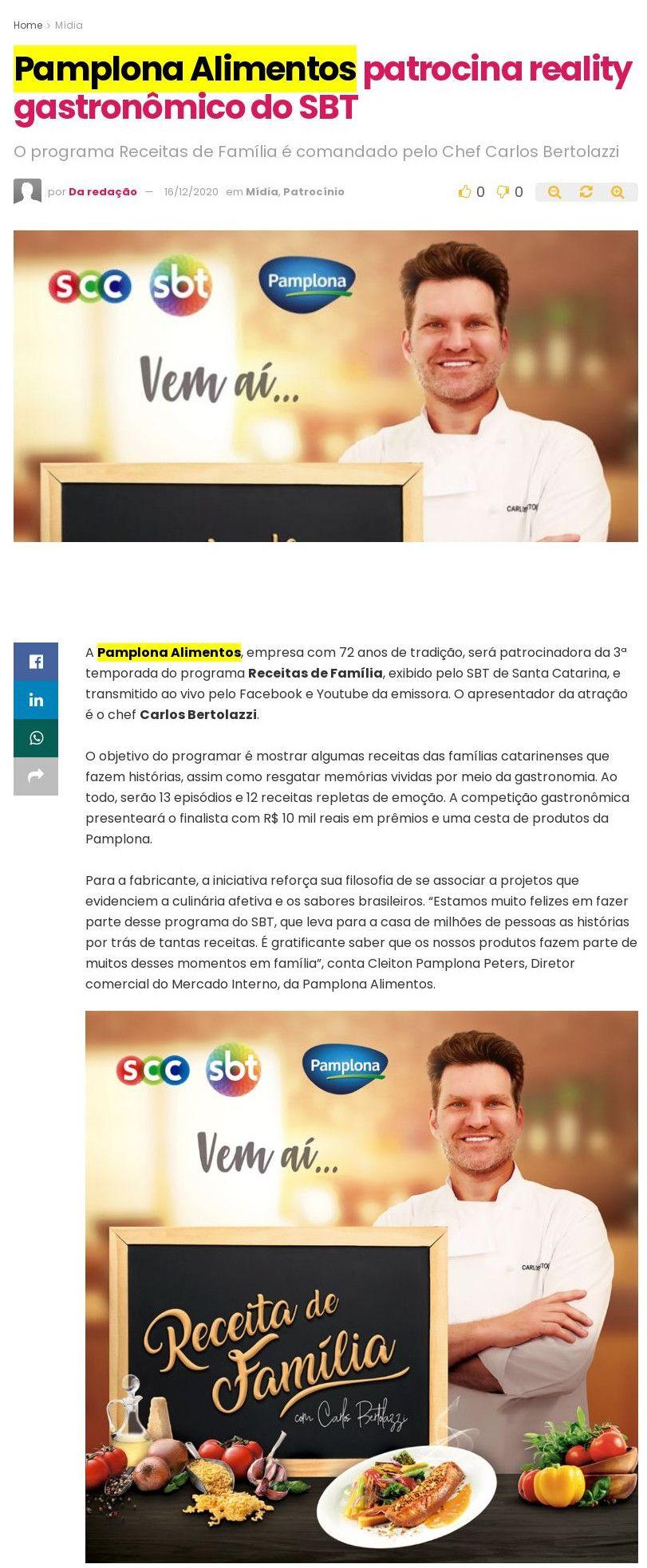 Pamplona Alimentos patrocina reality gastronômico do SBT - Abc da Comunicação