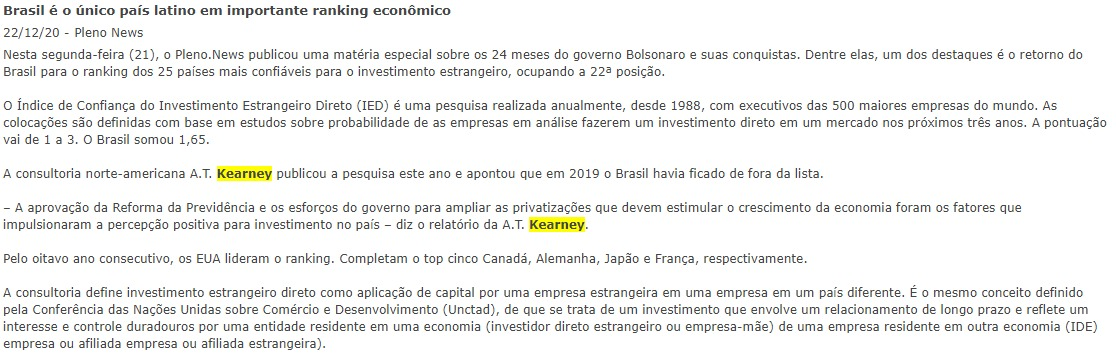 Brasil é o único país latino em importante ranking econômico - Pleno News