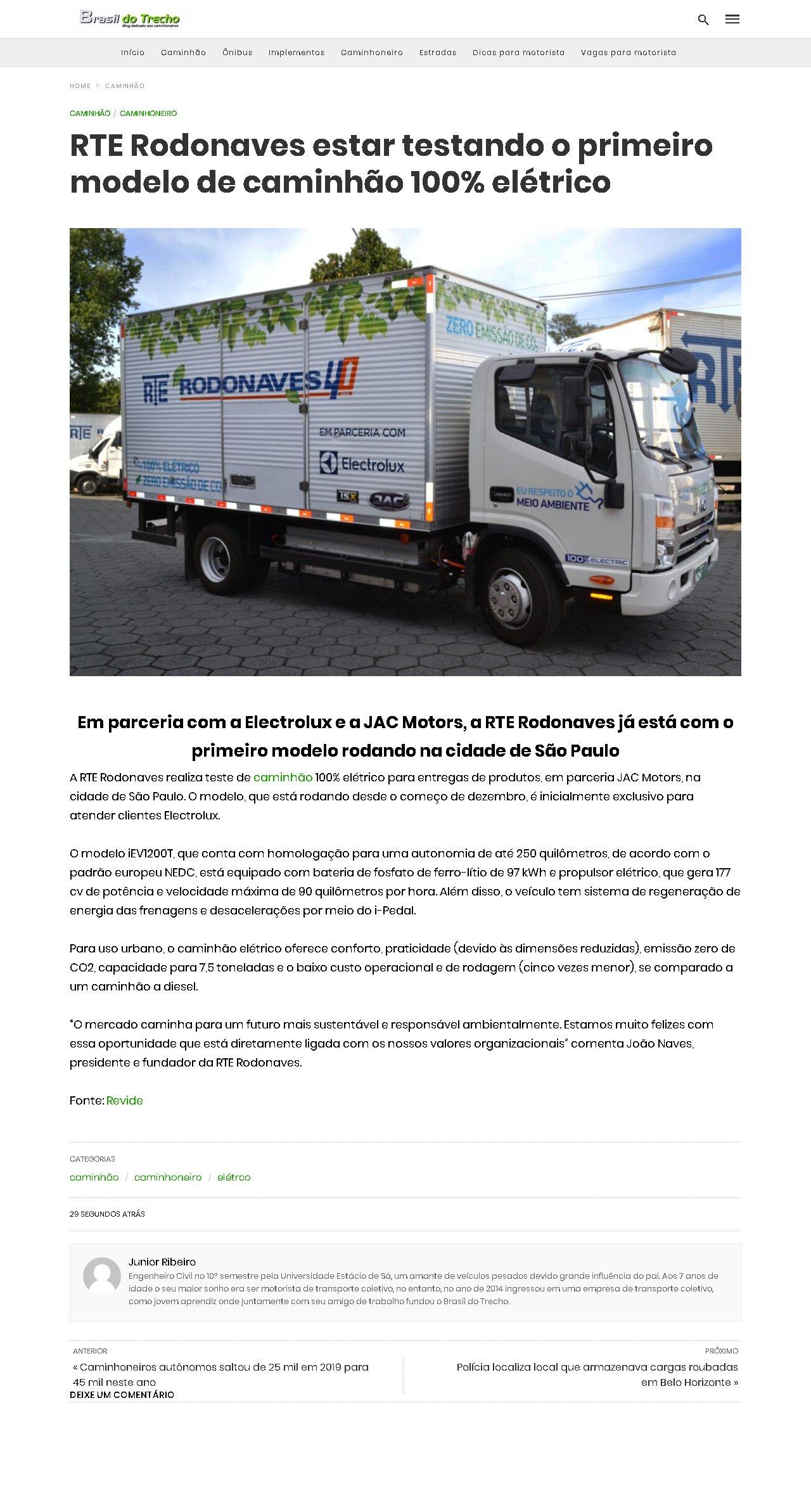 RTE Rodonaves estar testando o primeiro modelo de caminhão 100% elétrico - Brasil do Trecho