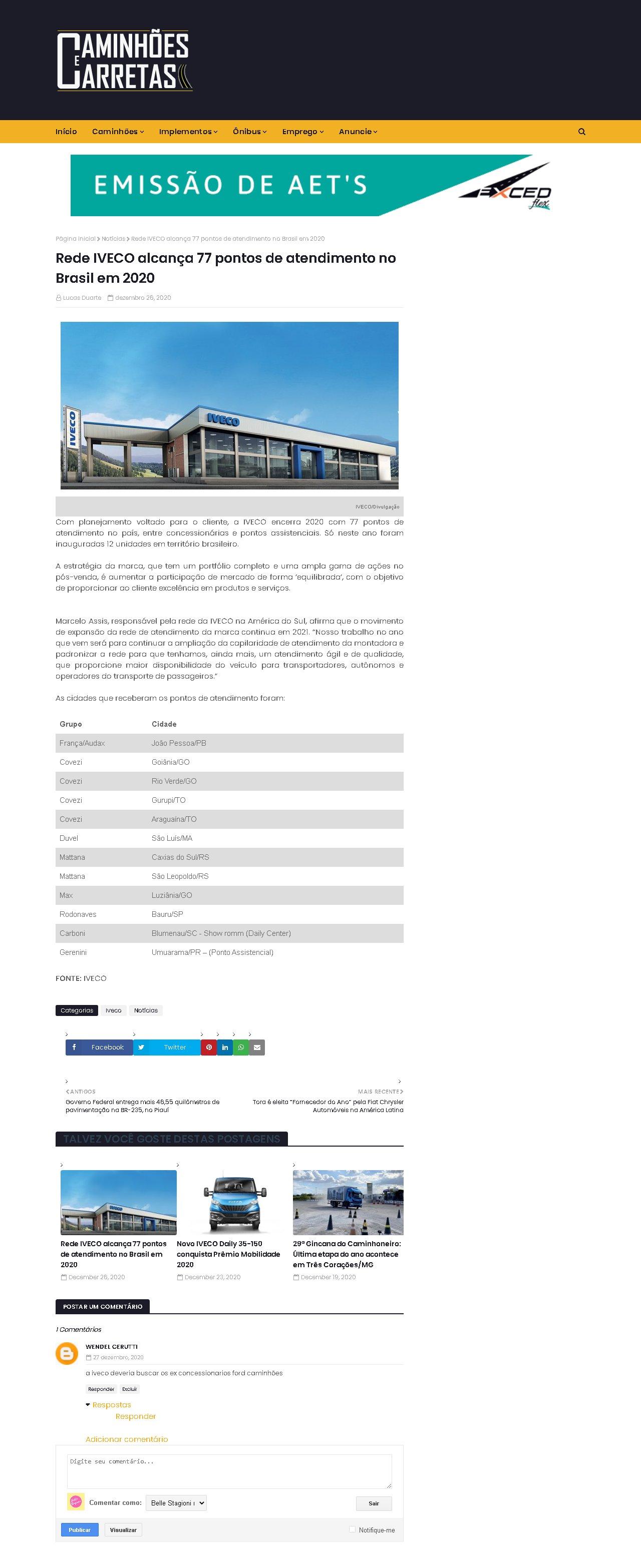Rede IVECO alcança 77 pontos de atendimento no Brasil em 2020 - Caminhões e Carretas