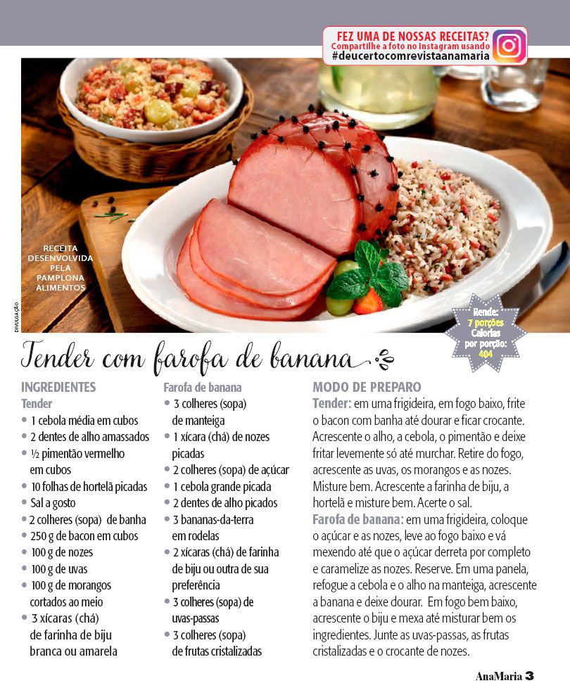 Tender com farofa de banana - Ana Maria Receitas