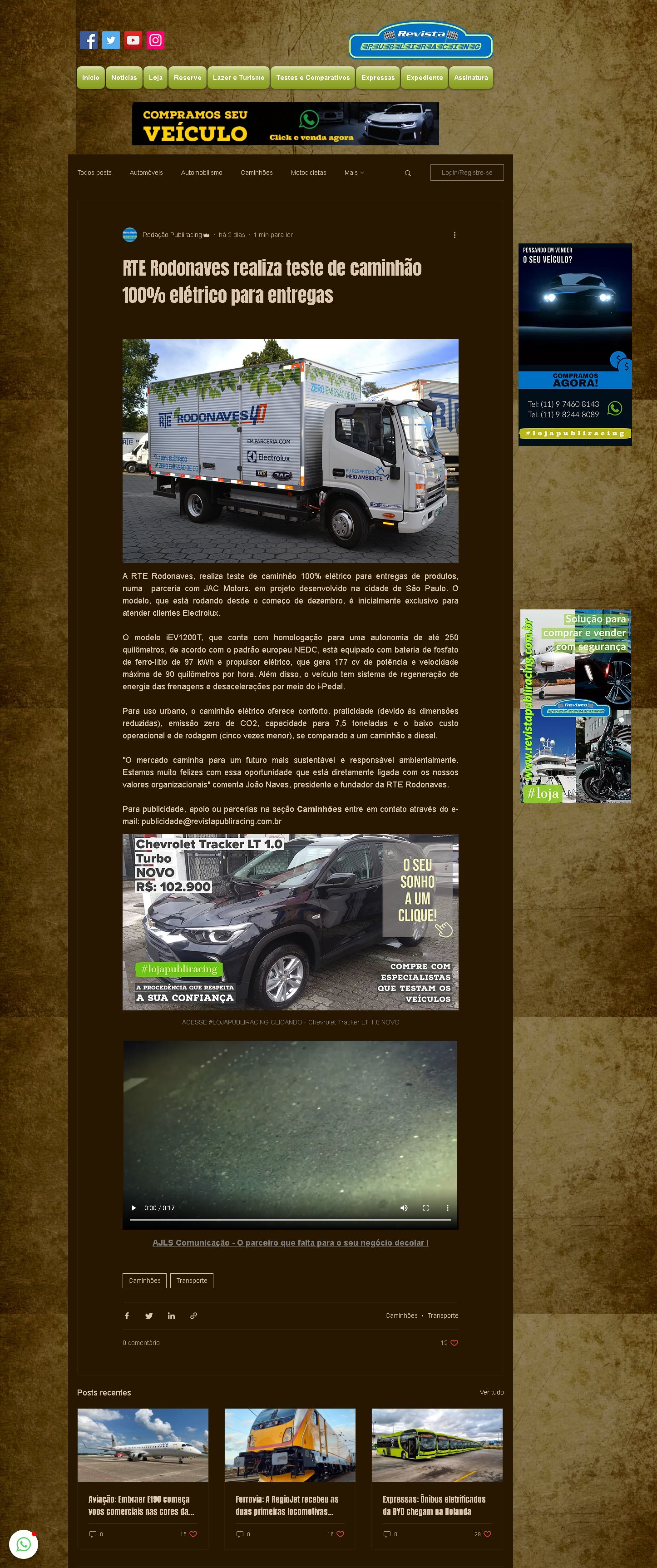 RTE Rodonaves realiza teste de caminhão 100% elétrico para entregas - Revista Publiracing