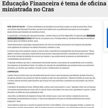 CONTÉM CULTURA Educação Financeira é tema de oficina ministrada no Cras – Folha do Comércio