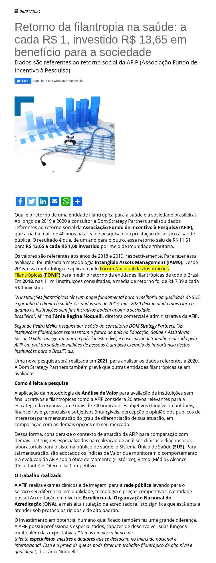 Retorno da filantropia na saúde: a cada R$ 1, investido R$ 13,65 em benefício para a sociedade - 06/01/2021 FEMIPA