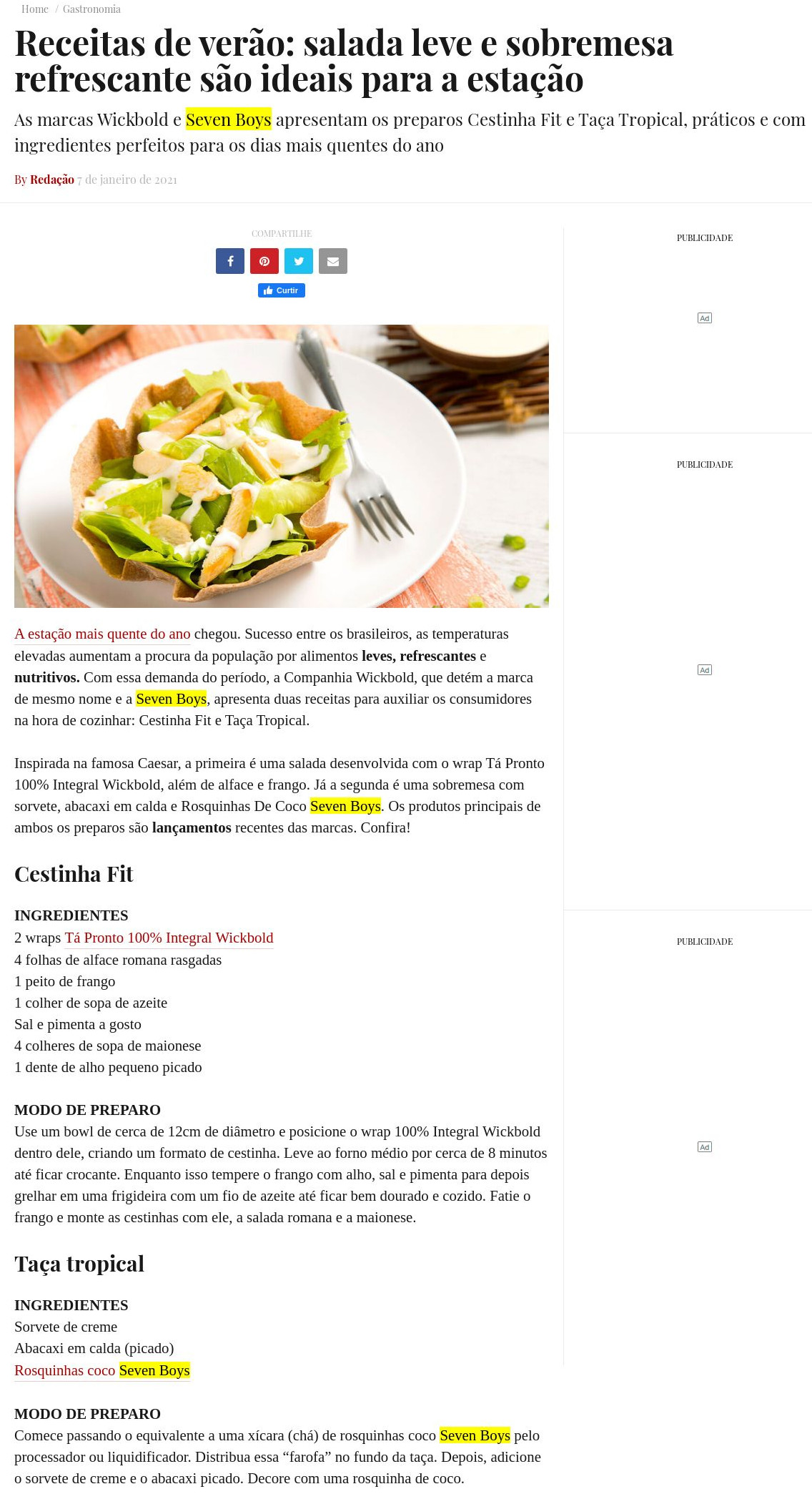 Receitas de verão: salada leve e sobremesa refrescante são ideais para a estação - Topview
