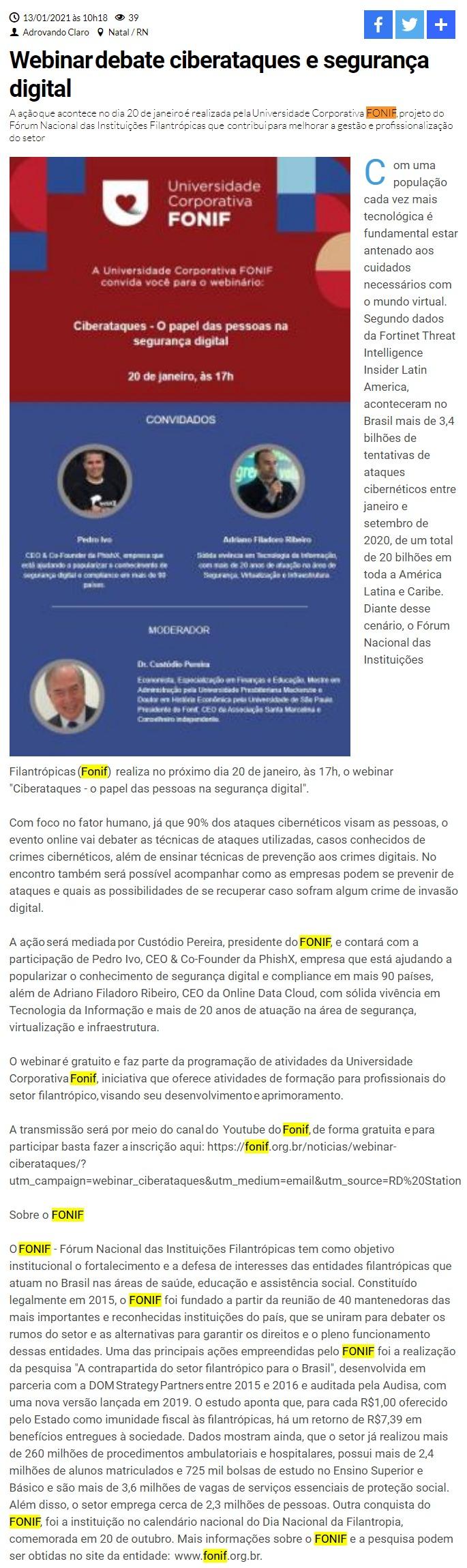 Webinardebate ciberataques e segurança digital - Gazeta de Natal