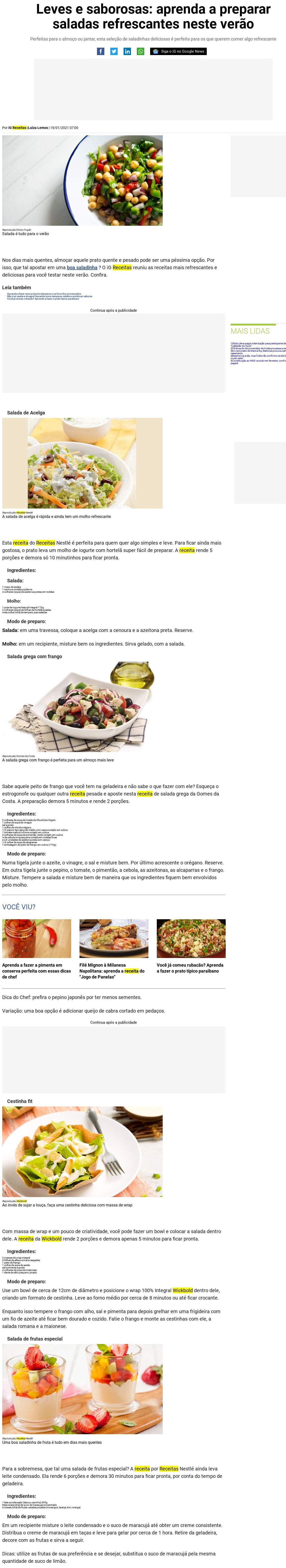 Leves e saborosas: aprenda a preparar saladas refrescantes neste verão - Receitas IG
