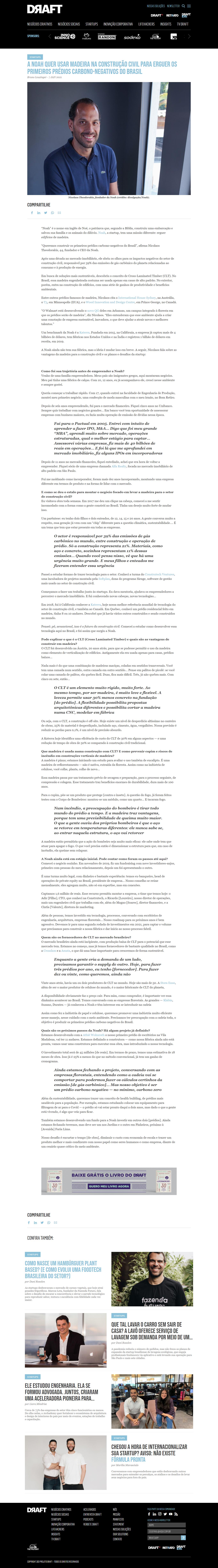 A NOAH QUER USAR MADEIRA NA CONSTRUÇÃO CIVIL PARA ERGUER OS PRIMEIROS PRÉDIOS CARBONO-NEGATIVOS DO BRASIL - Projeto Draft