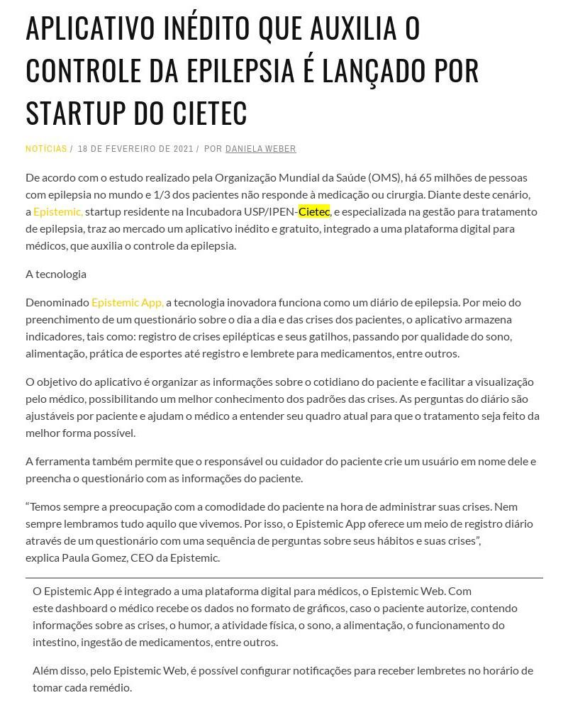 Aplicativo inédito que auxilia o controle da epilepsia é lançado por startup do Cietec - Report 360