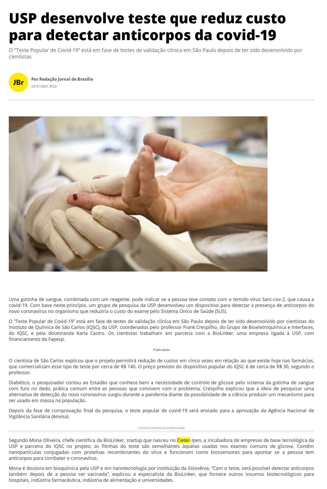 USP desenvolve teste que reduz custo para detectar anticorpos da covid-19 - Jornal de Brasília
