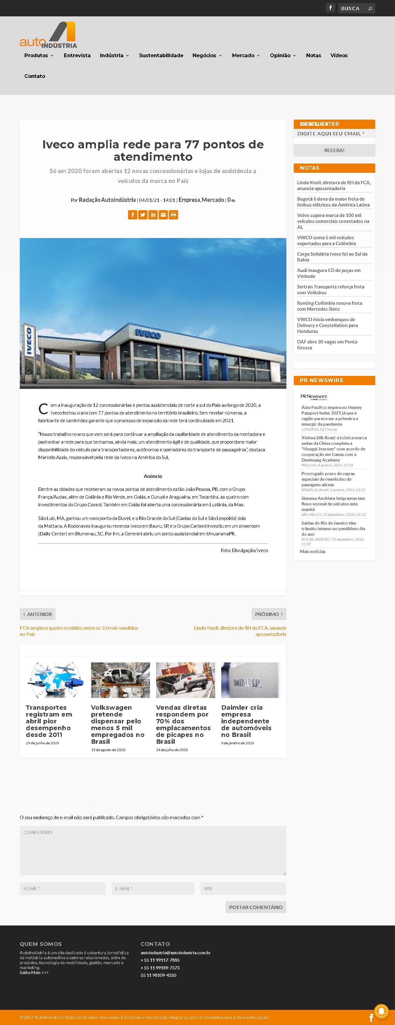 Iveco amplia rede para 77 pontos de atendimento - Auto Indústria
