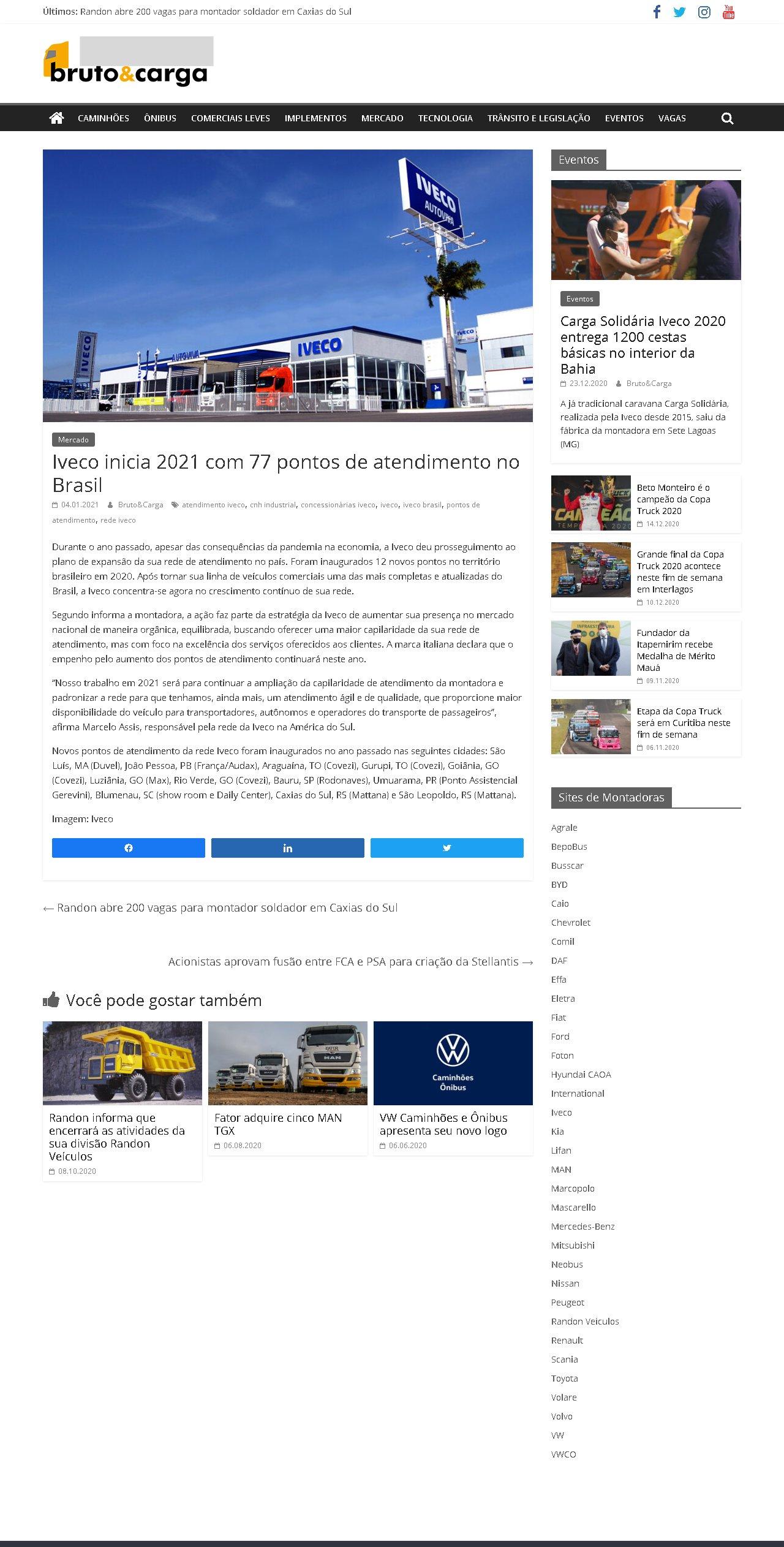 Iveco inicia 2021 com 77 pontos de atendimento no Brasil - Bruto e Carga