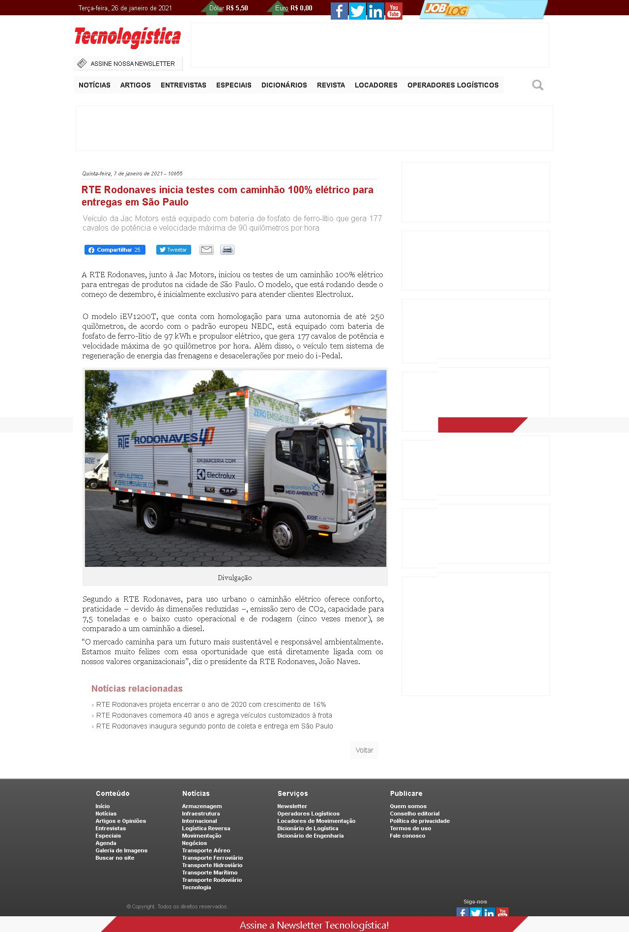 RTE Rodonaves inicia testes com caminhão 100% elétrico para entregas em São Paulo - Tecnologística