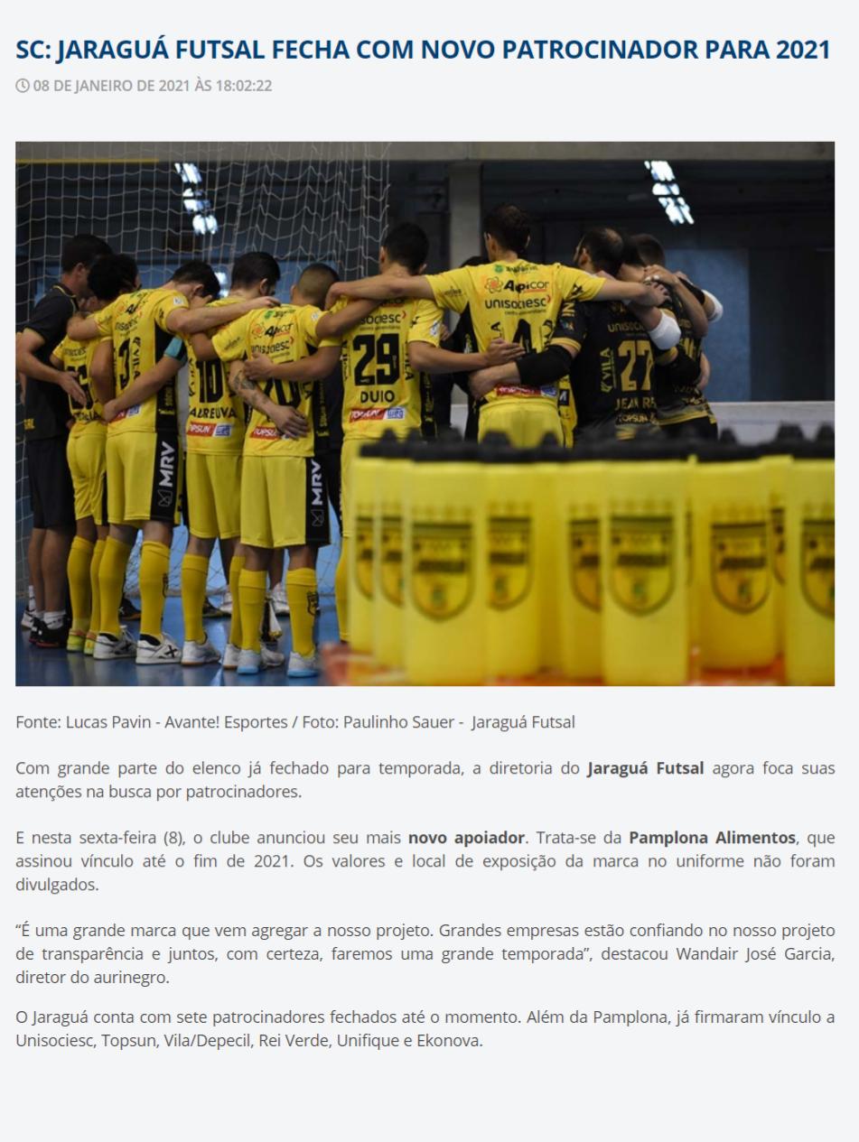 SC: JARAGUÁ FUTSAL FECHA COM NOVO PATROCINADOR PARA 2021 - Futsal de Primeira