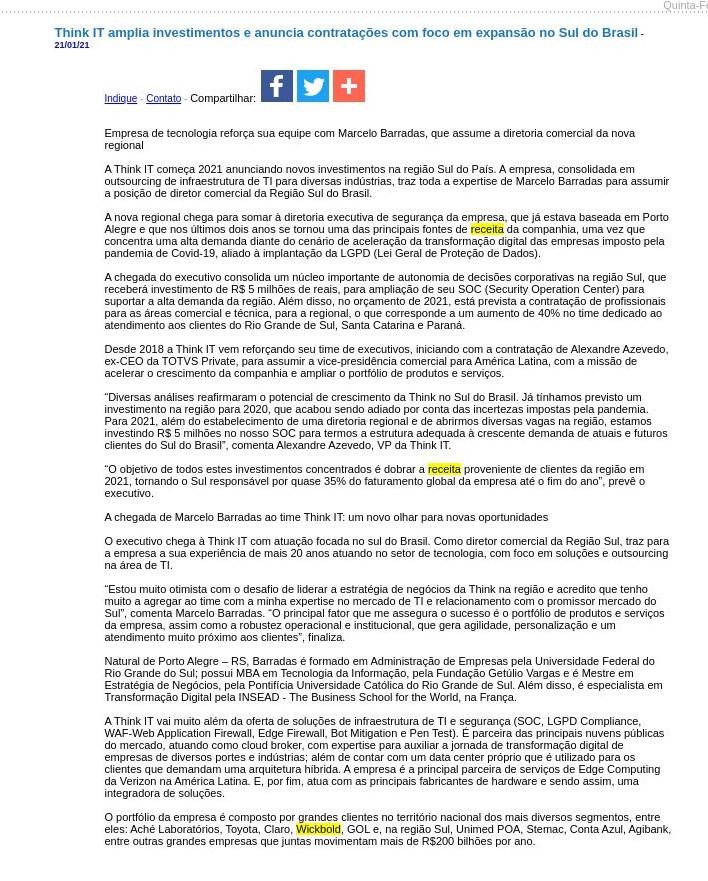 Think IT amplia investimentos e anuncia contratações com foco em expansão no Sul do Brasil - JorNow