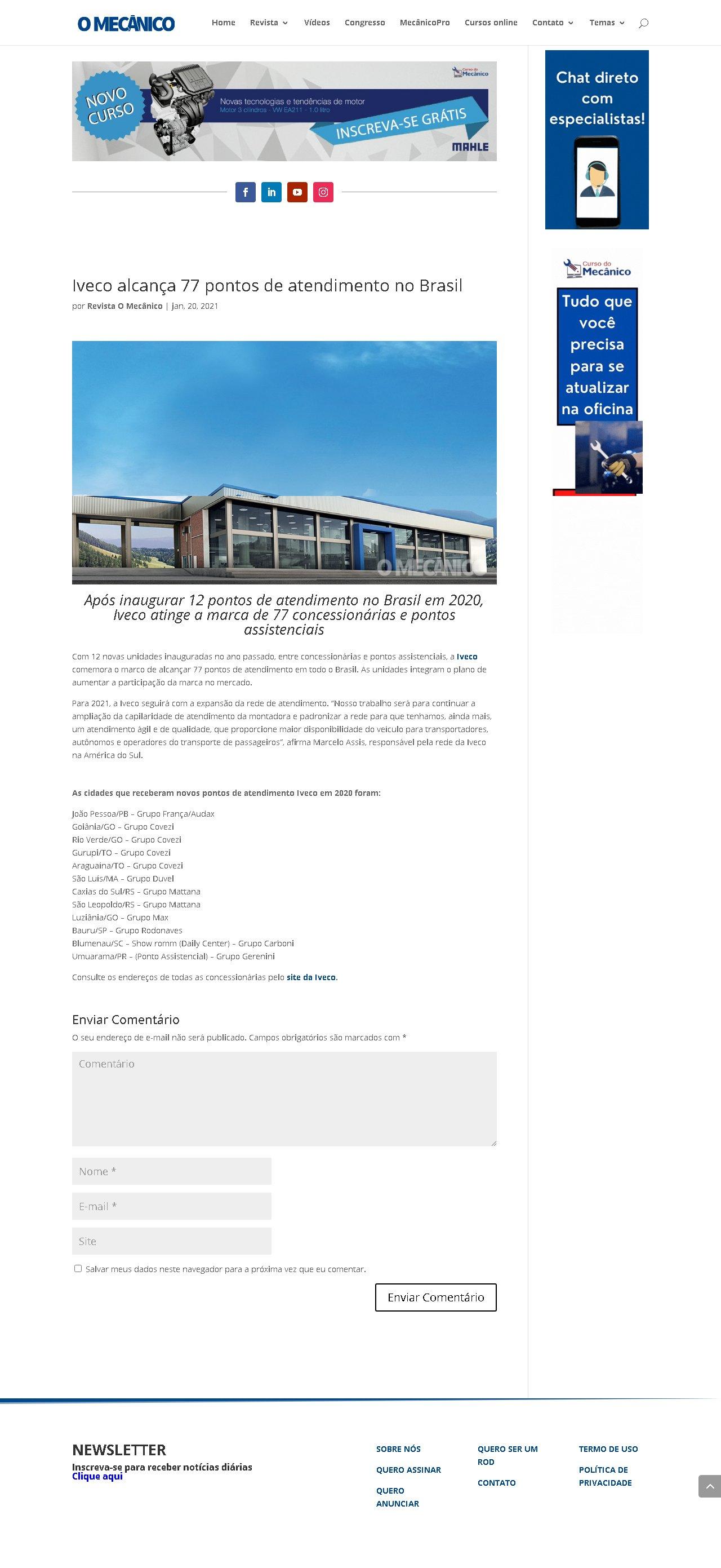 Iveco alcança 77 pontos de atendimento no Brasil - O Mecânico