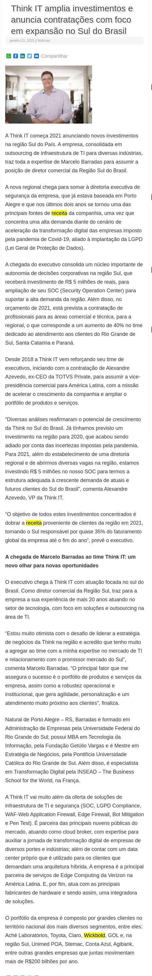 Think IT amplia investimentos e anuncia contratações com foco em expansão no Sul do Brasil - Valor Agregado