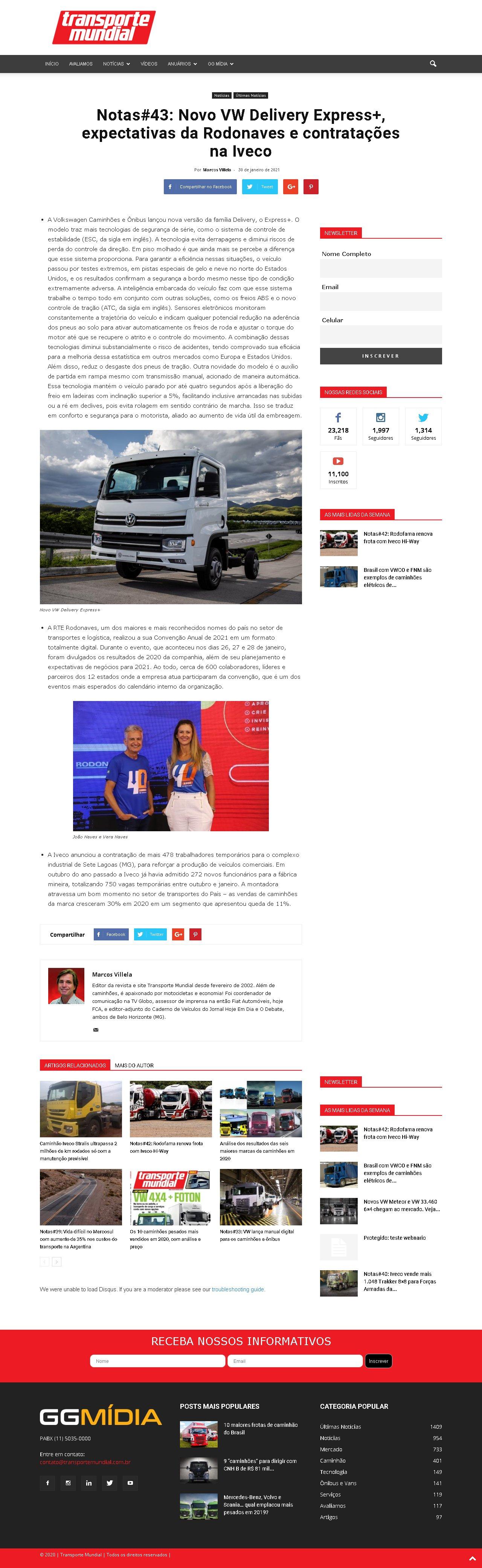 Notas#43: Novo VW Delivery Express+, expectativas da Rodonaves e contratações na Iveco - Transporte Mundial