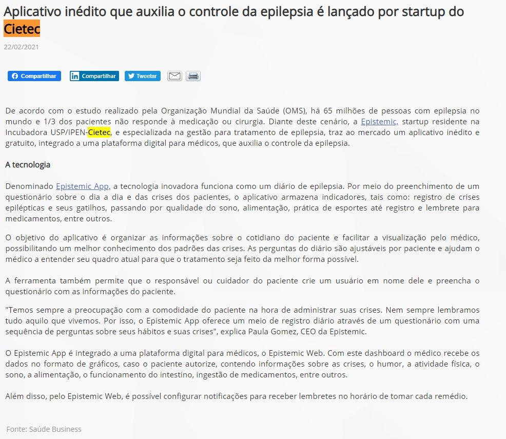 Aplicativo inédito que auxilia o controle da epilepsia é lançado por startup do Cietec - PPTA Saúde