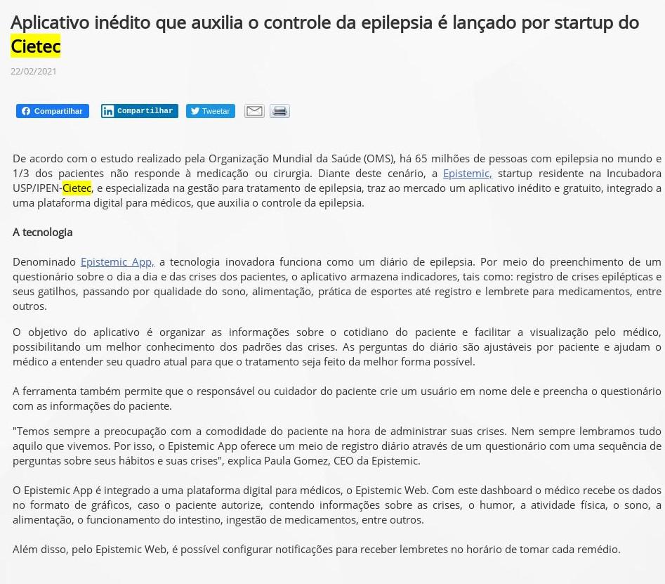 Aplicativo inédito que auxilia o controle da epilepsia é lançado por startup do Cietec - PPTA Soluções e Tecnologia