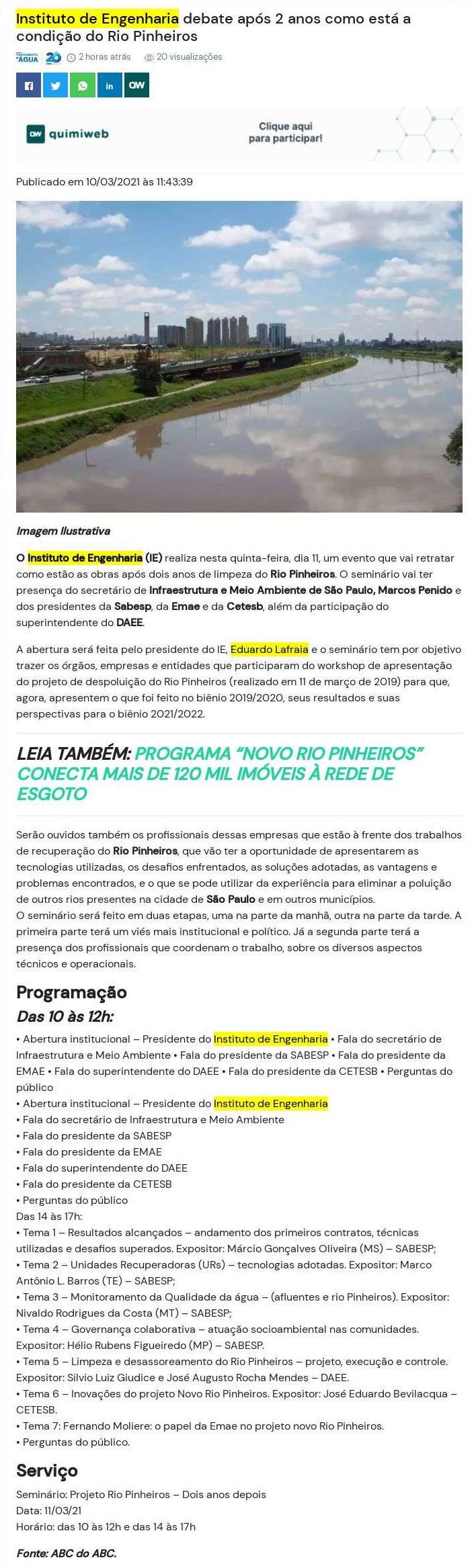 Instituto de Engenharia debate após 2 anos como está a condição do Rio Pinheiros - News Quimiweb