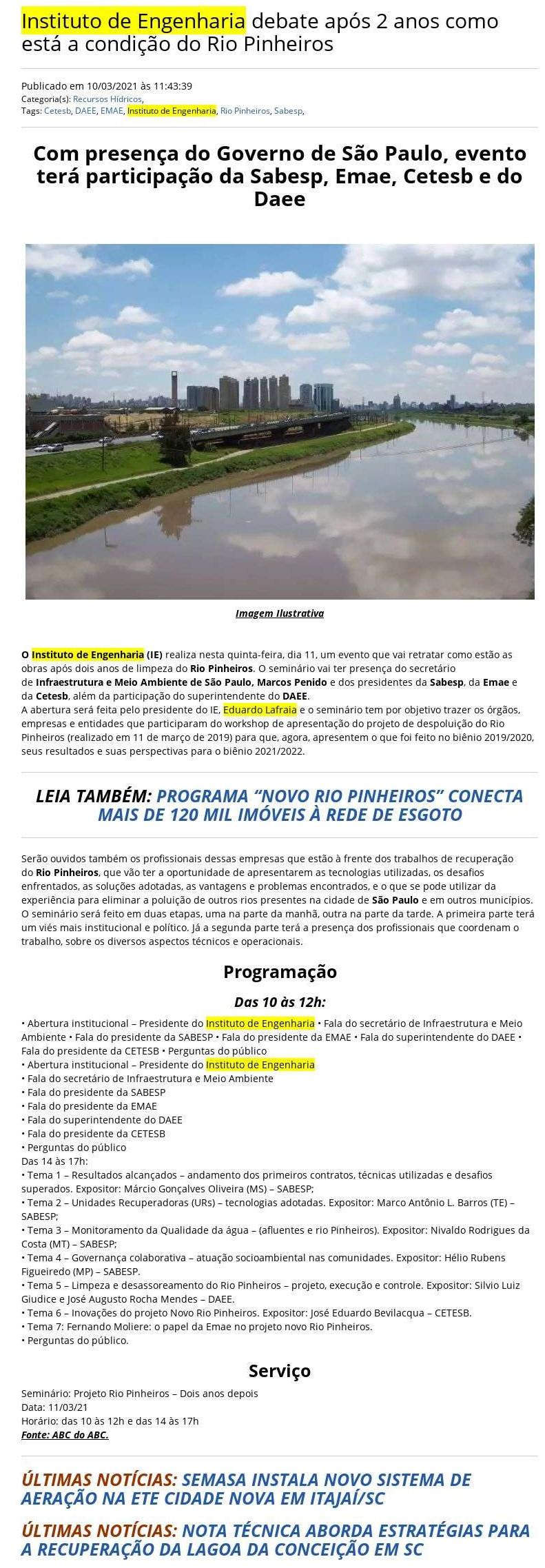 Instituto de Engenharia debate após 2 anos como está a condição do Rio Pinheiros - Tratamento de água
