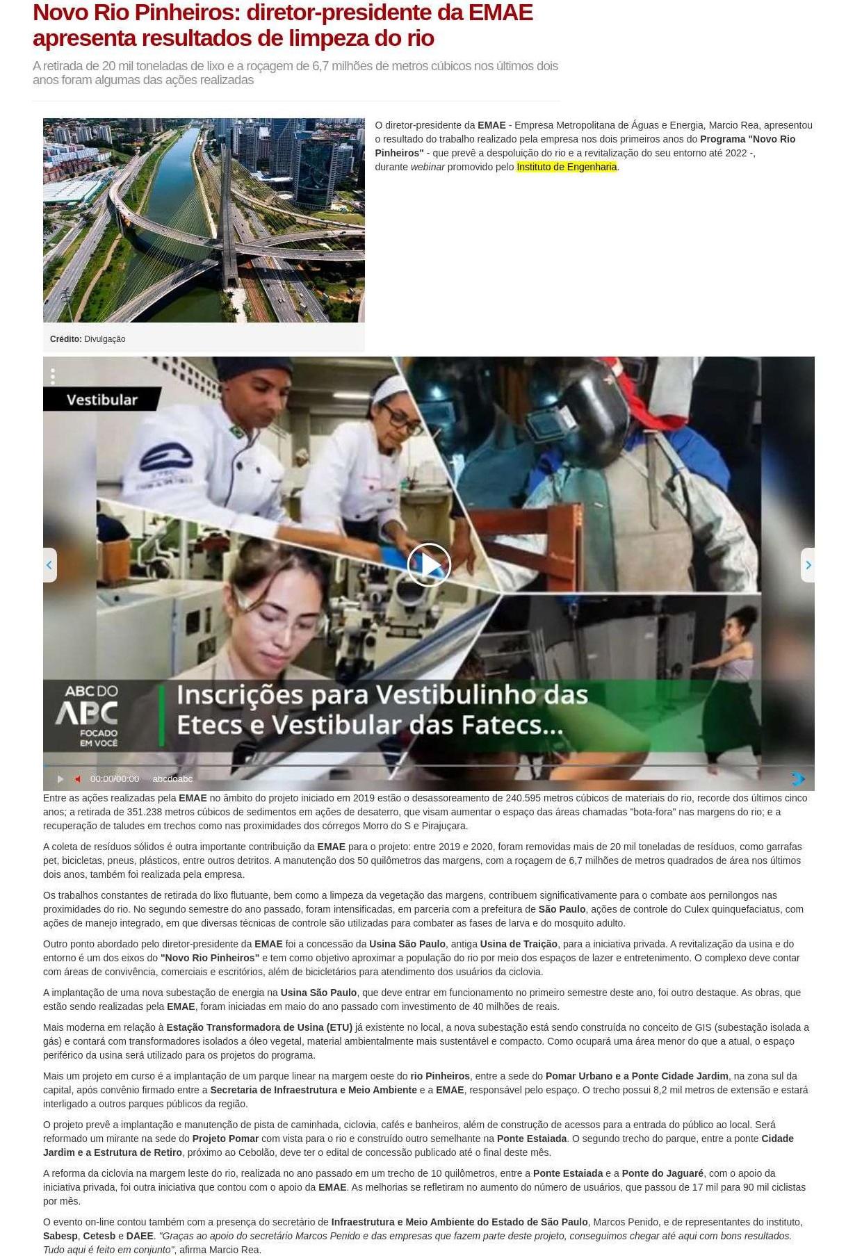 Novo Rio Pinheiros: diretor-presidente da EMAE apresenta resultados de limpeza do rio - ABC do ABC