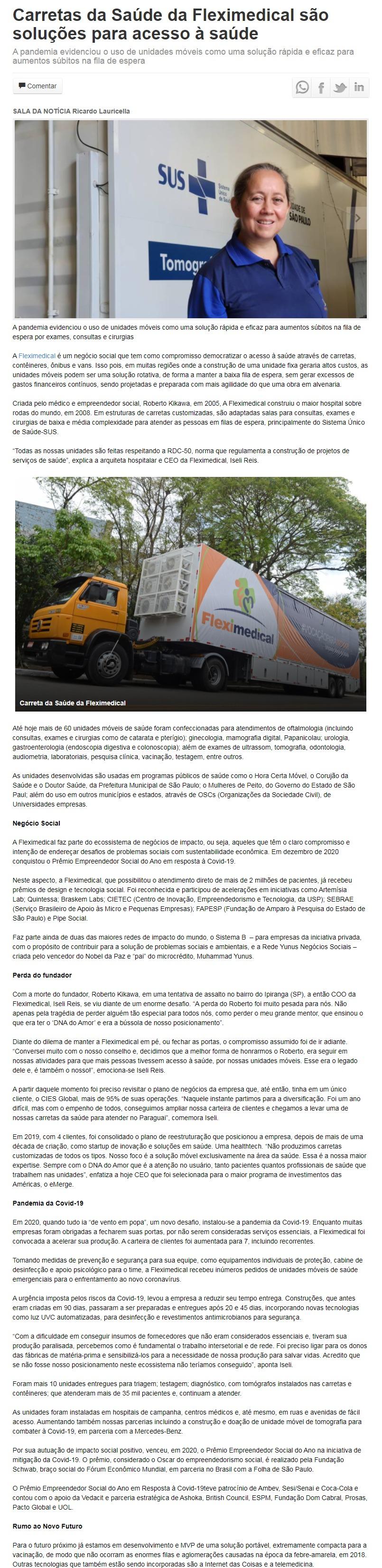 Carretas da Saúde da Fleximedical são soluções para acesso à saúde - Catalão Online