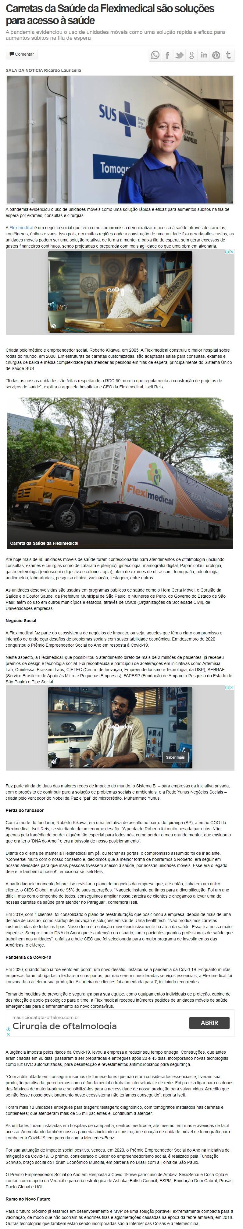 Carretas da Saúde da Fleximedical são soluções para acesso à saúde - Gazeta da Semana