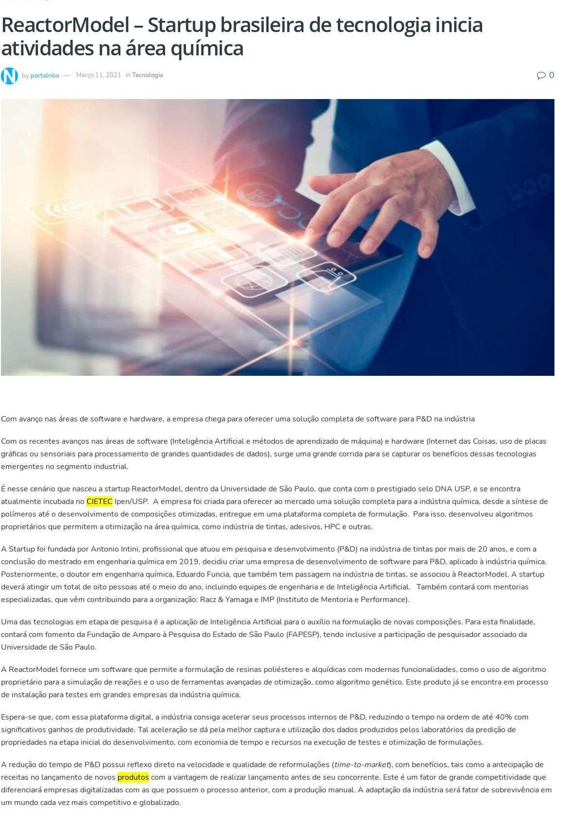 ReactorModel – Startup brasileira de tecnologia inicia atividades na área química - Portal Nbo