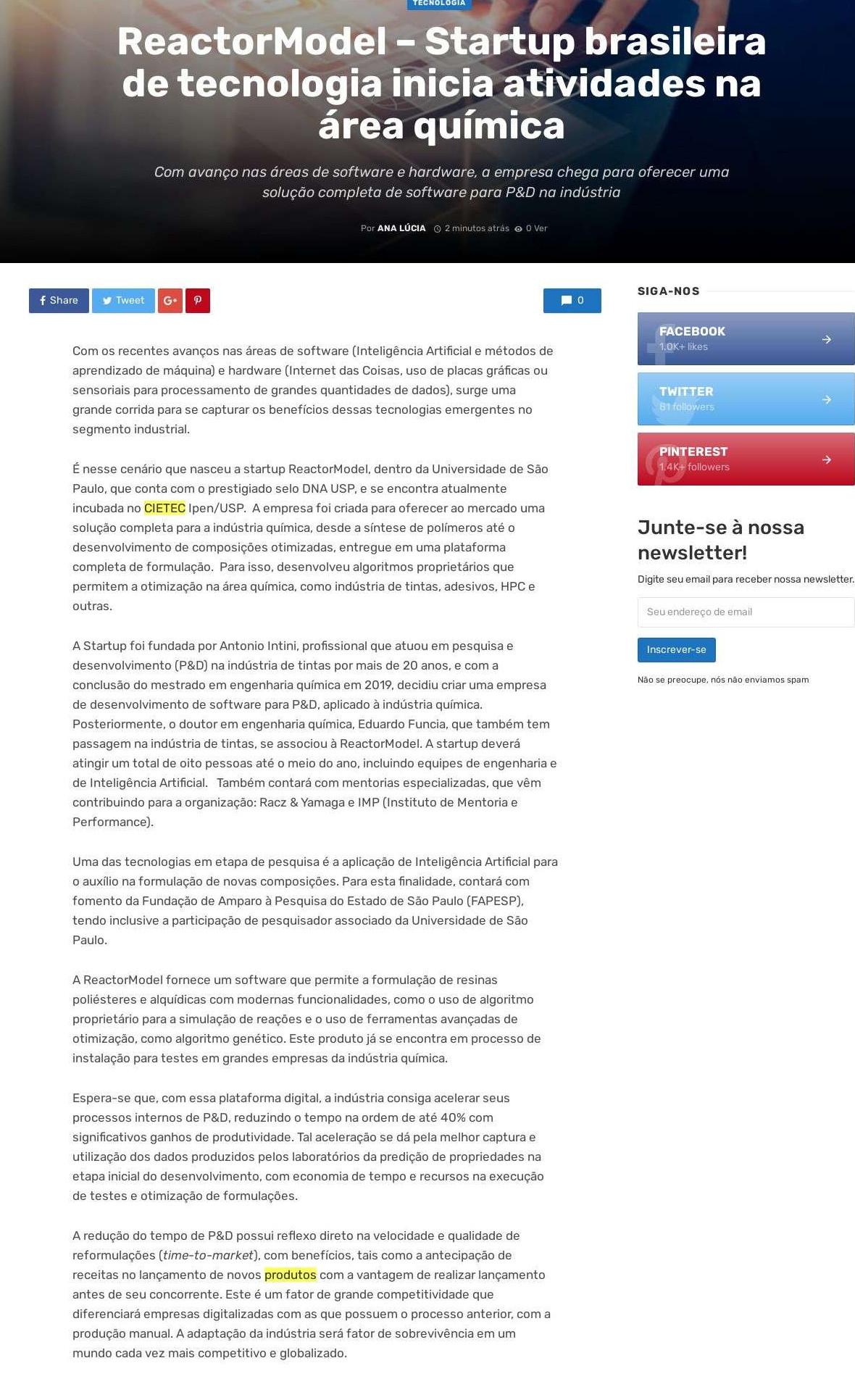 ReactorModel - Startup brasileira de tecnologia inicia atividades na área química - Portal RBN