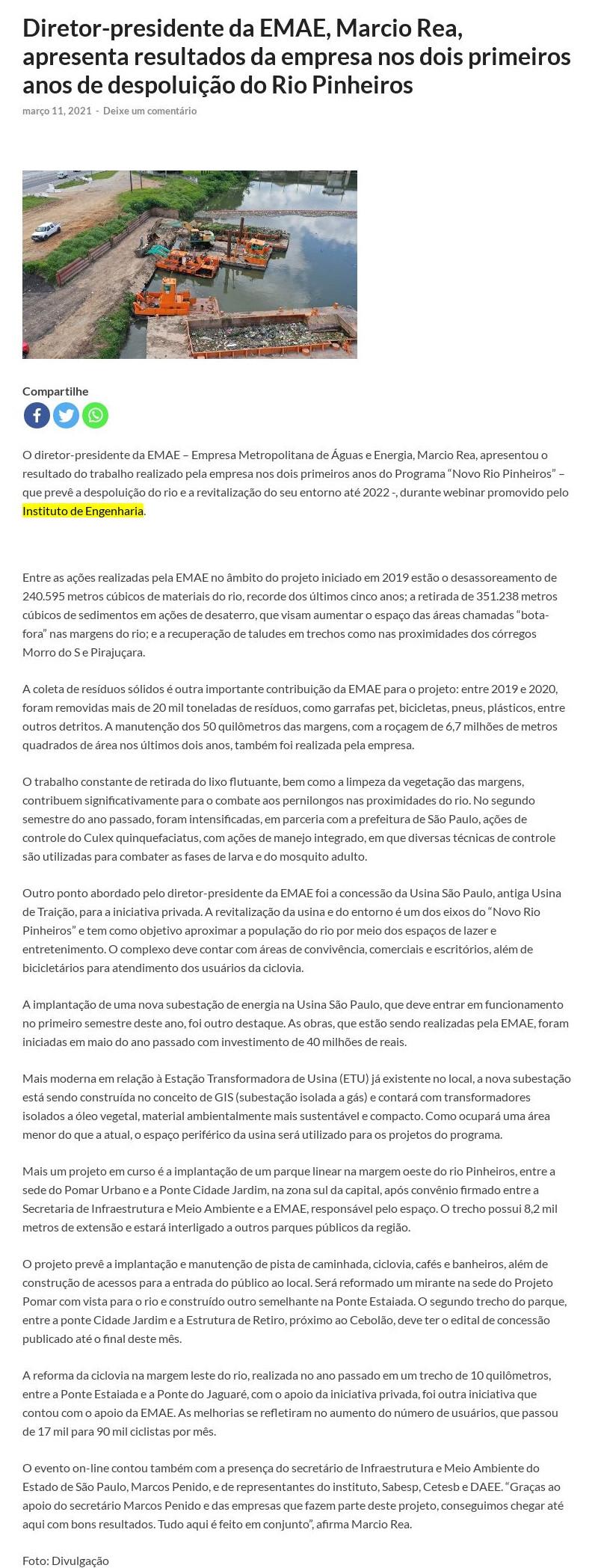 Diretor-presidente da EMAE, Marcio Rea, apresenta resultados da empresa nos dois primeiros anos de despoluição do Rio Pinheiros - Primeira Edição
