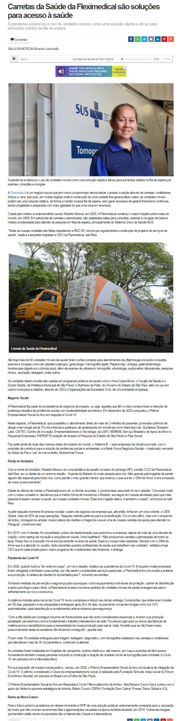 Carretas da Saúde da Fleximedical são soluções para acesso à saúde - Regional Express MG