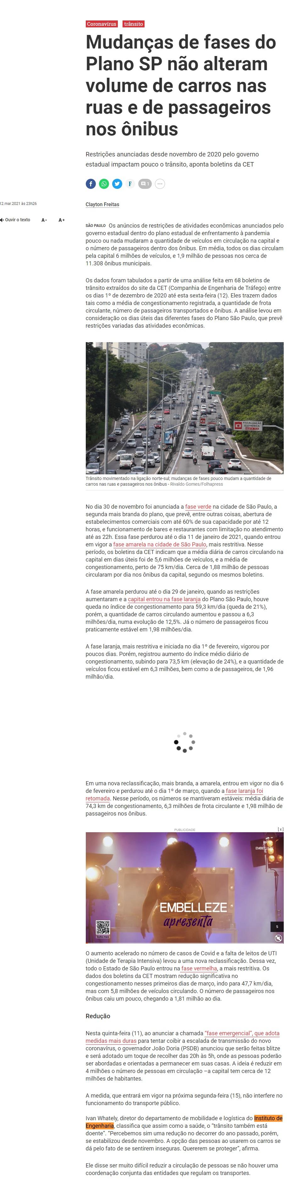 Mudanças de fases do Plano SP não alteram volume de carros nas ruas e de passageiros nos ônibus - Agora São Paulo