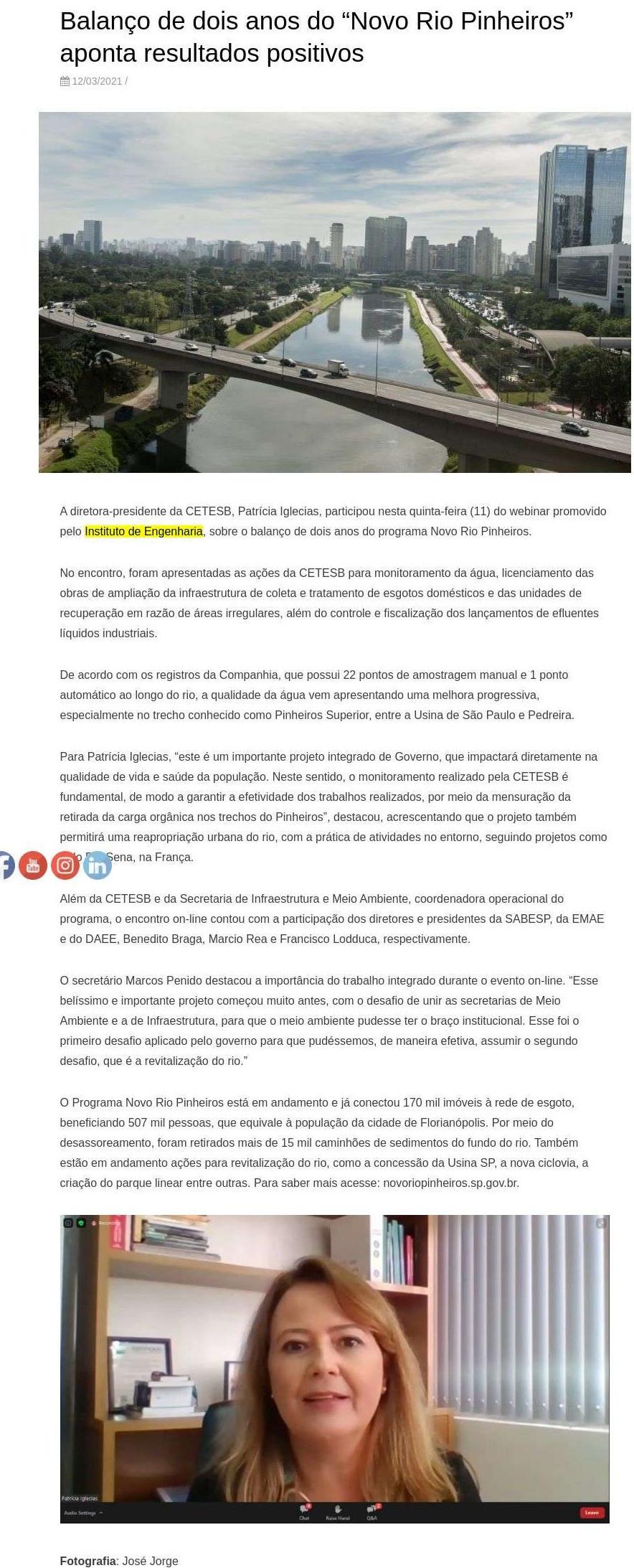 """Balanço de dois anos do """"Novo Rio Pinheiros"""" aponta resultados positivos - Cetesb Companhia Ambiental do Estado de São Paulo"""