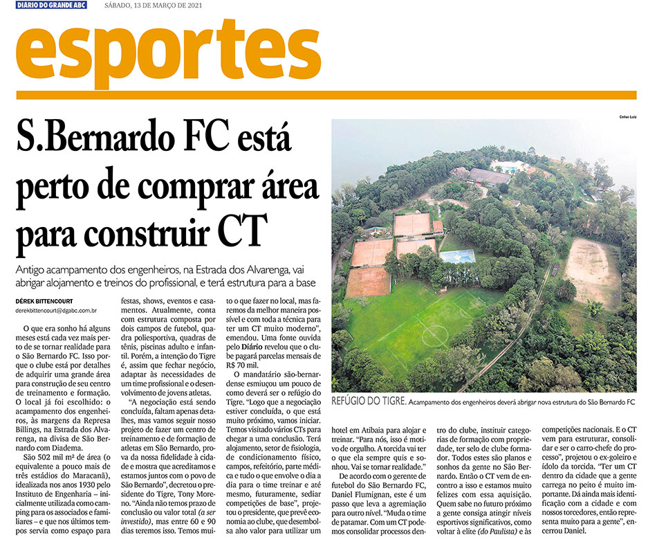 S.Bernardo FC está perto de comprar área para construir CT - Diário do Grande ABC