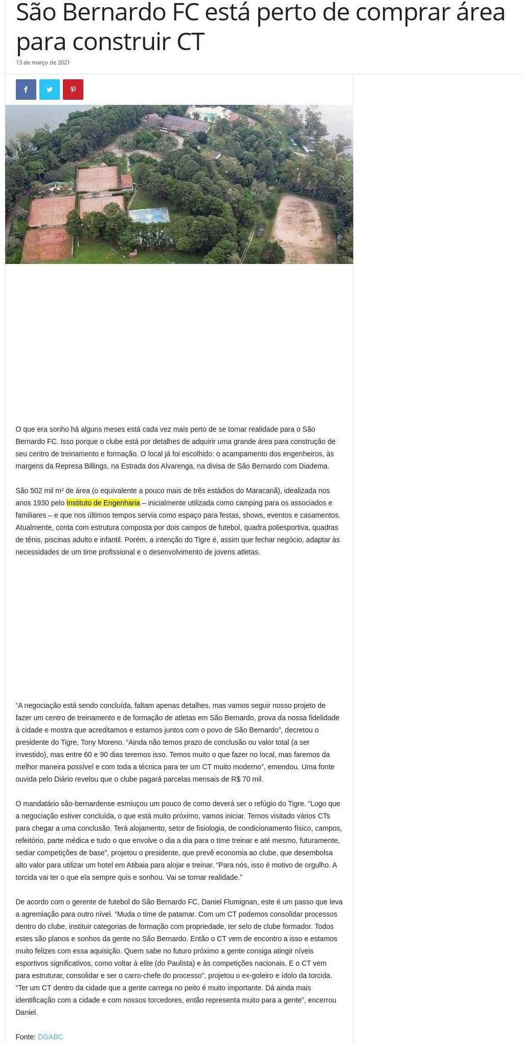 São Bernardo FC está perto de comprar área para construir CT - TV Mais ABC